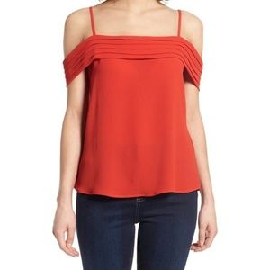 BP Pleated Cold-shoulder Top
